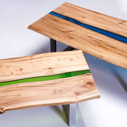 Green and Blue River Tables Made Using GlassCast 50 Epoxy Resin